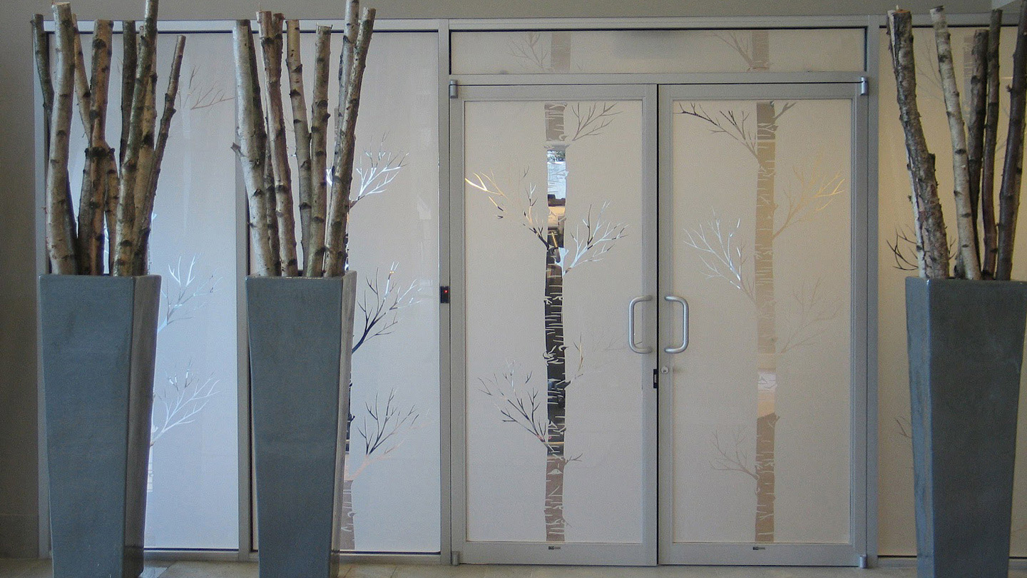 frosted window film, office, trees