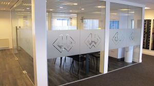 frosted window film, logo, office, business