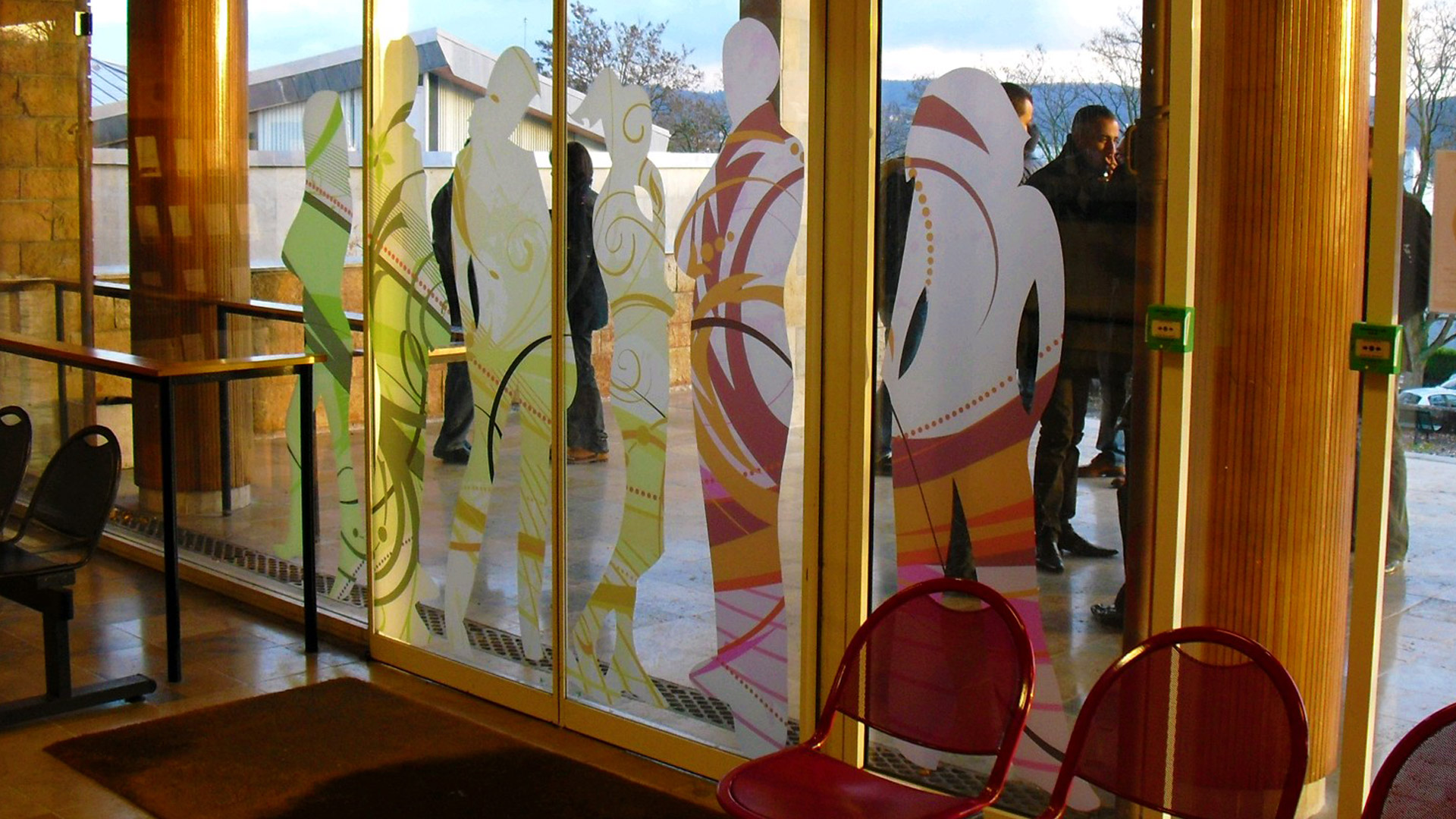 printed-frosted, window film, entrance