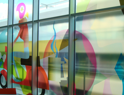 Transparent window film (3) with printed design