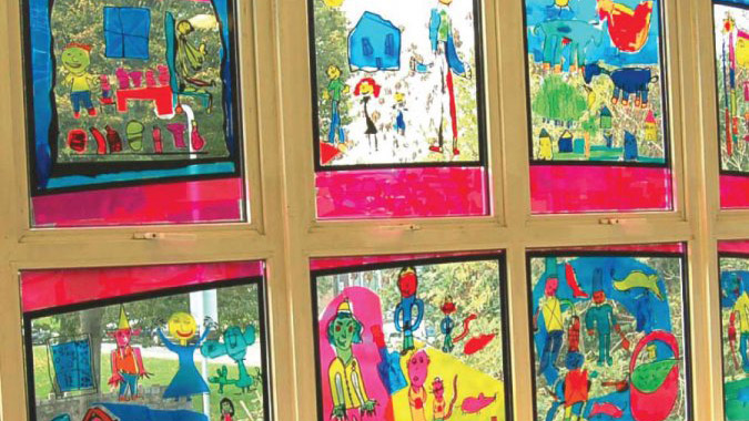 transparent window film, drawings, school