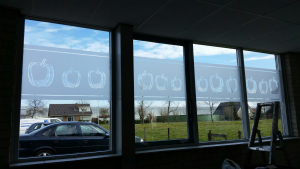 frosted window film, lunch room, paprika