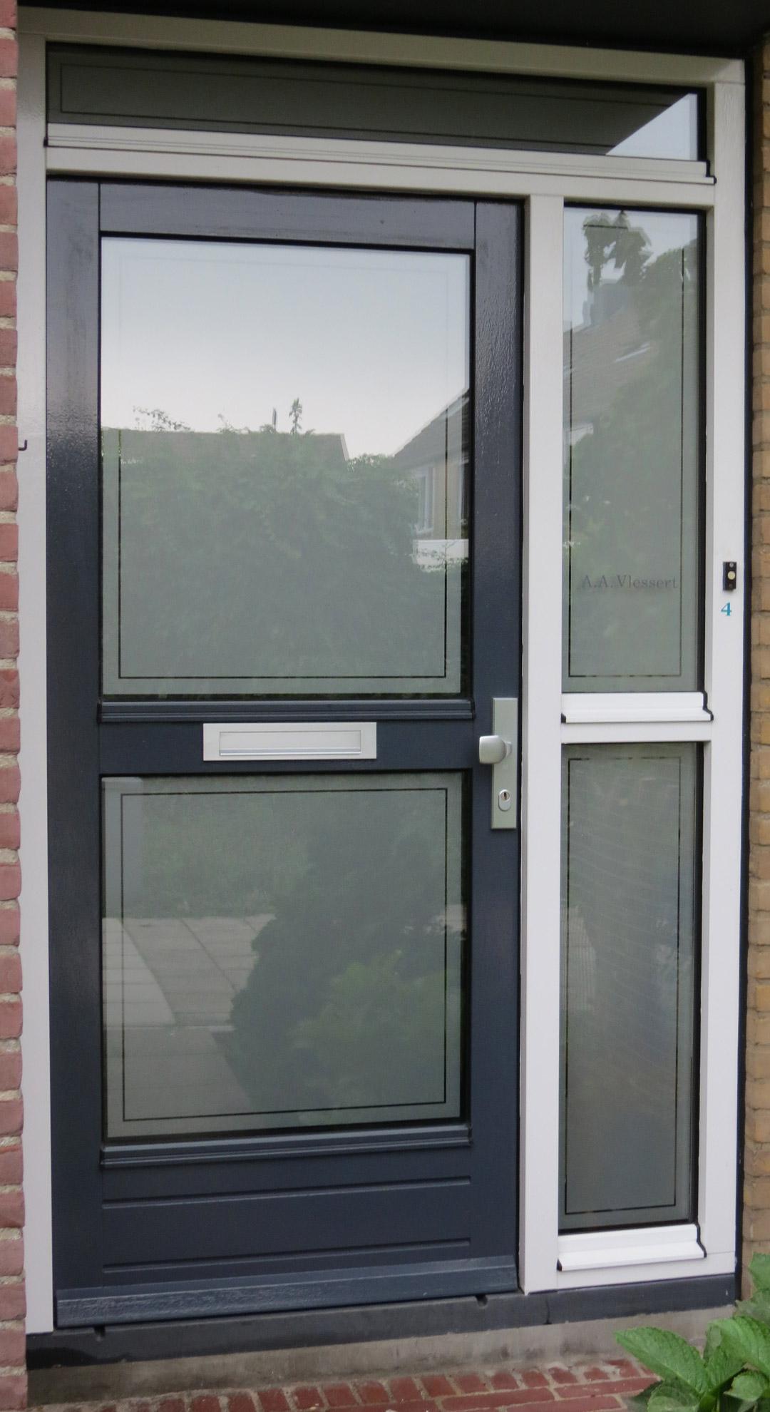 Frosted widow film front door applyityourself for Door with window in it