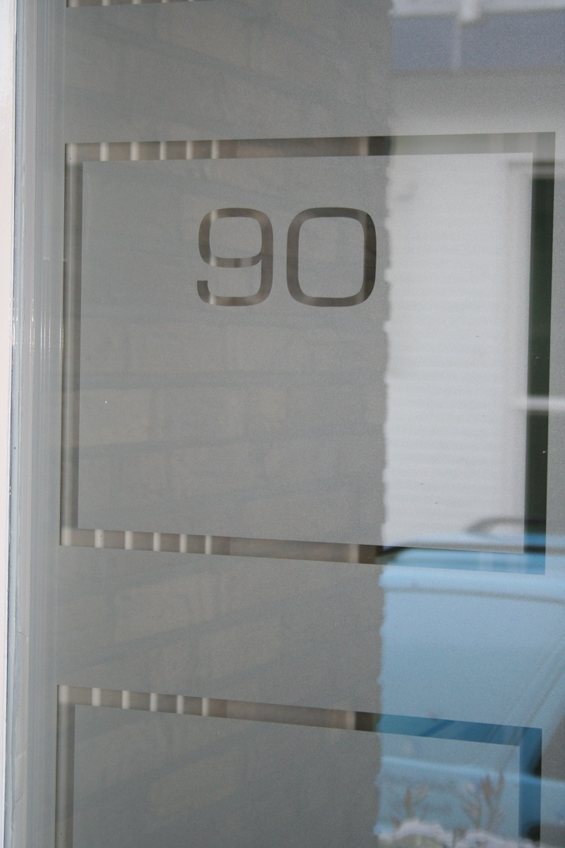 Frosted window film (1) Street number, border