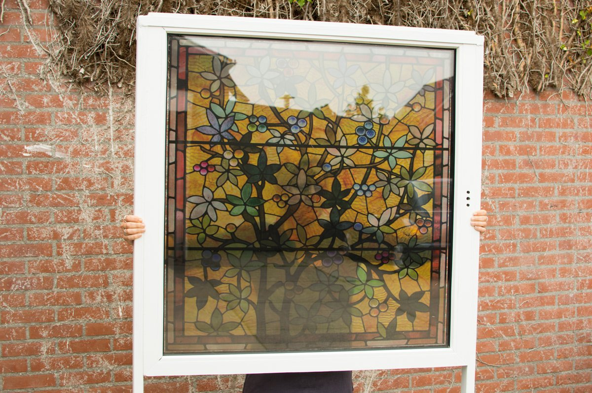 Transparent window film (2) with custom stained glass print