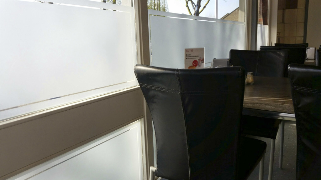 Frosted window film, privacy, restaurant