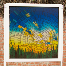Frosted window film (2) with stained glass print