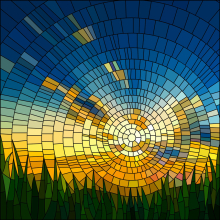 Window film, stained glass effect, modern, sun, sky, grass