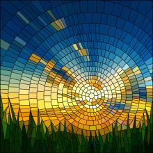 Window film, stained glass effect, modern, sun, sky, grass