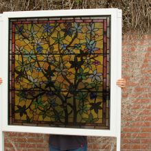 Transparent window film (3) with stained glass print