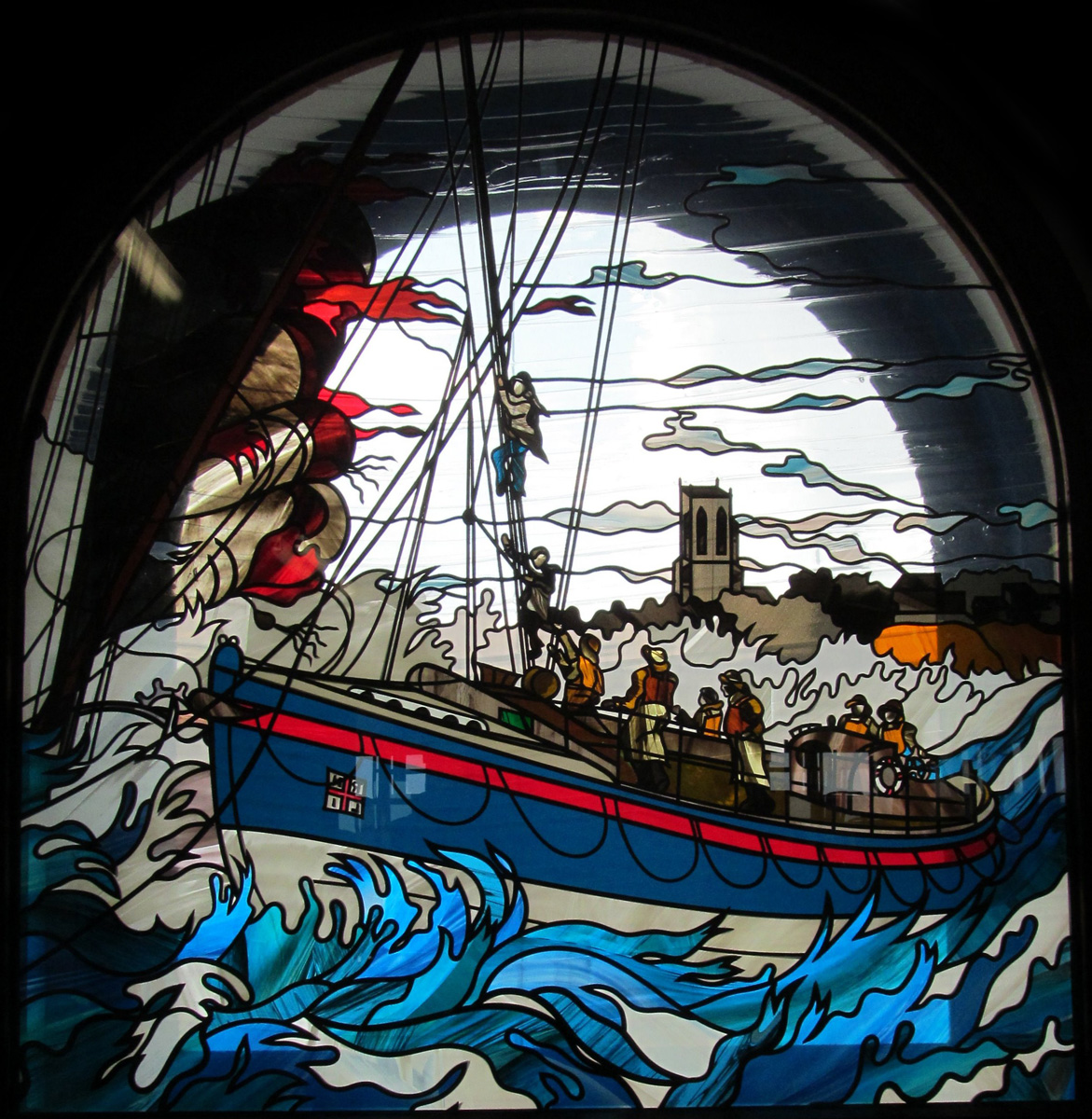 Window film, stained glass pattern, boat