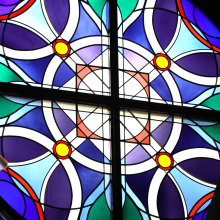 Window film, stained glass pattern, blue, church