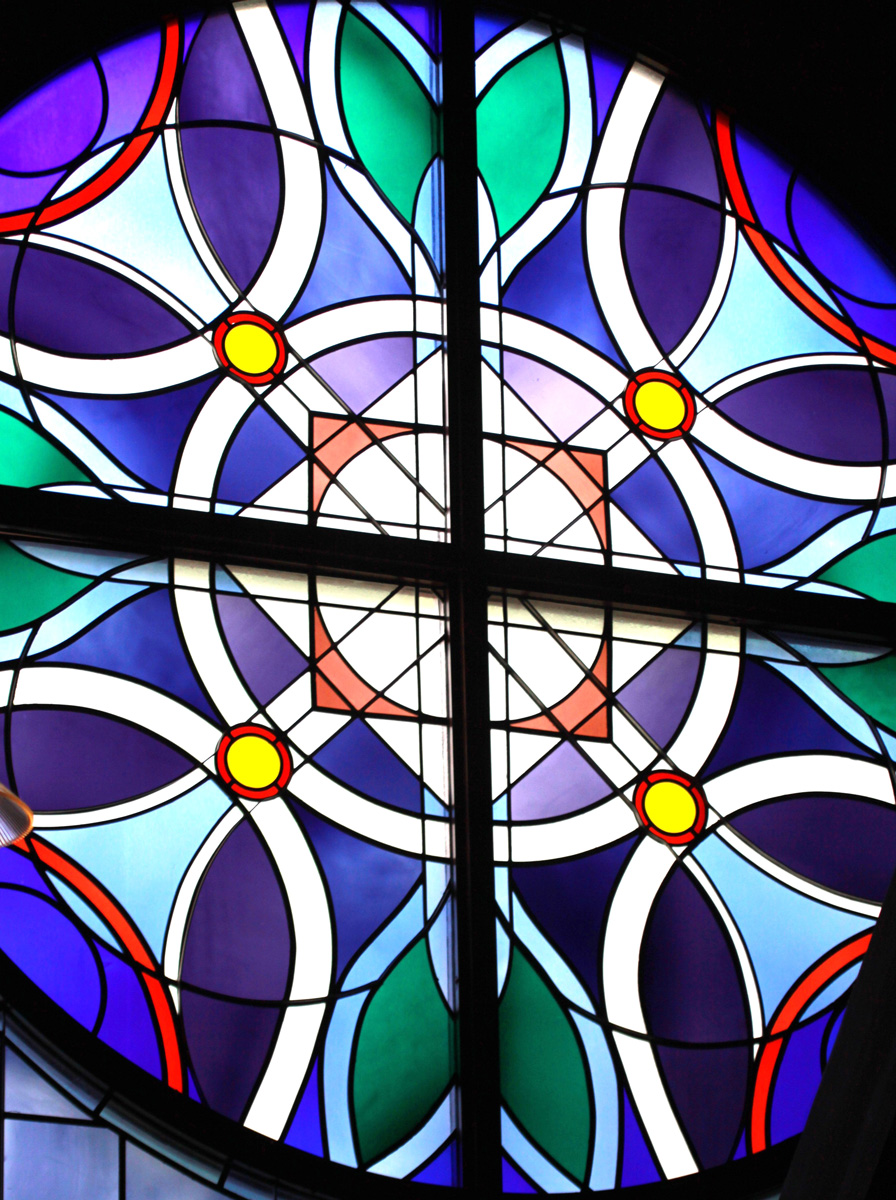 Window Film Stained Glass Pattern Blue Church