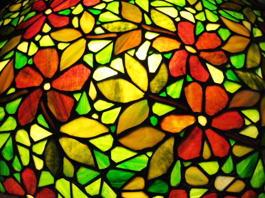 Window film, stained glass, flowers, green, yellow, red