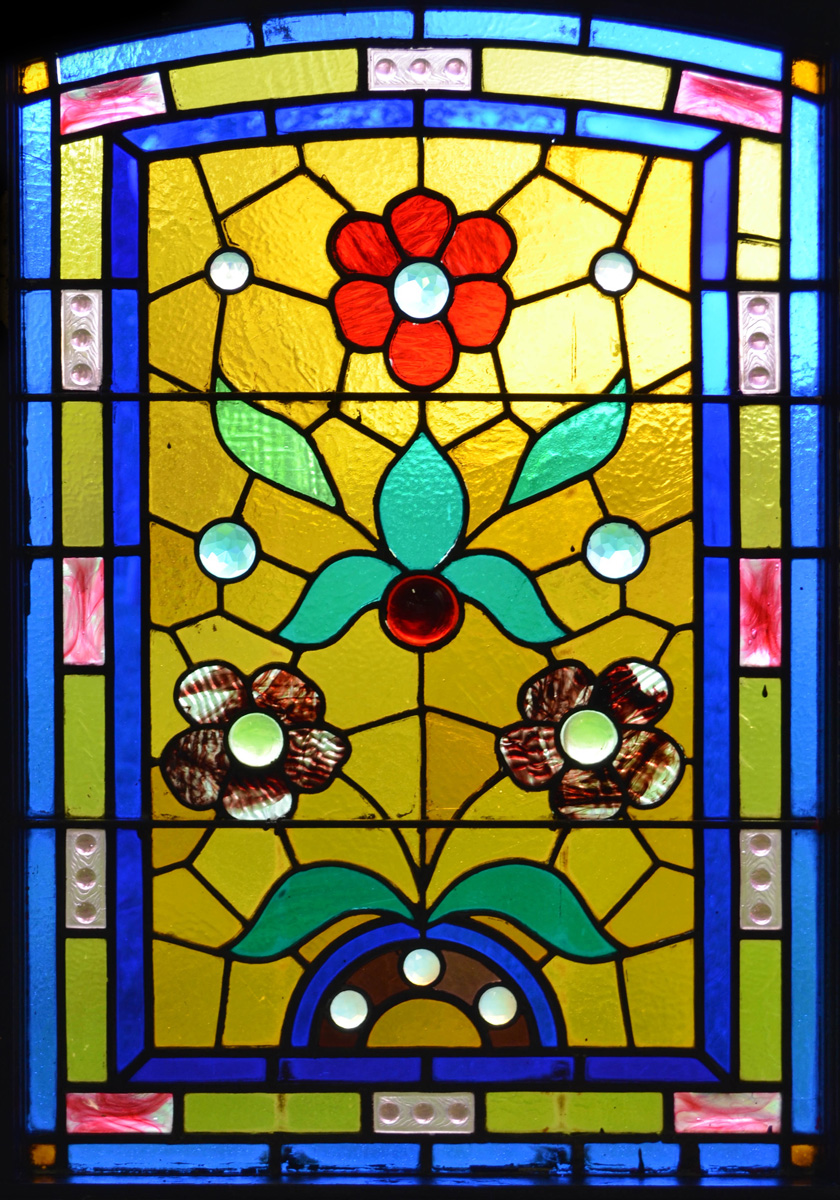 Window film, stained glass pattern, flowers, yellow, blue