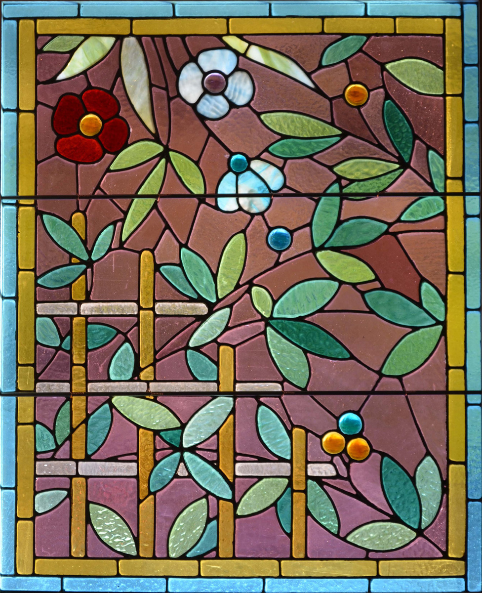 Window film, stained glass, flowers