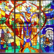 Window film, stained glass, jesus