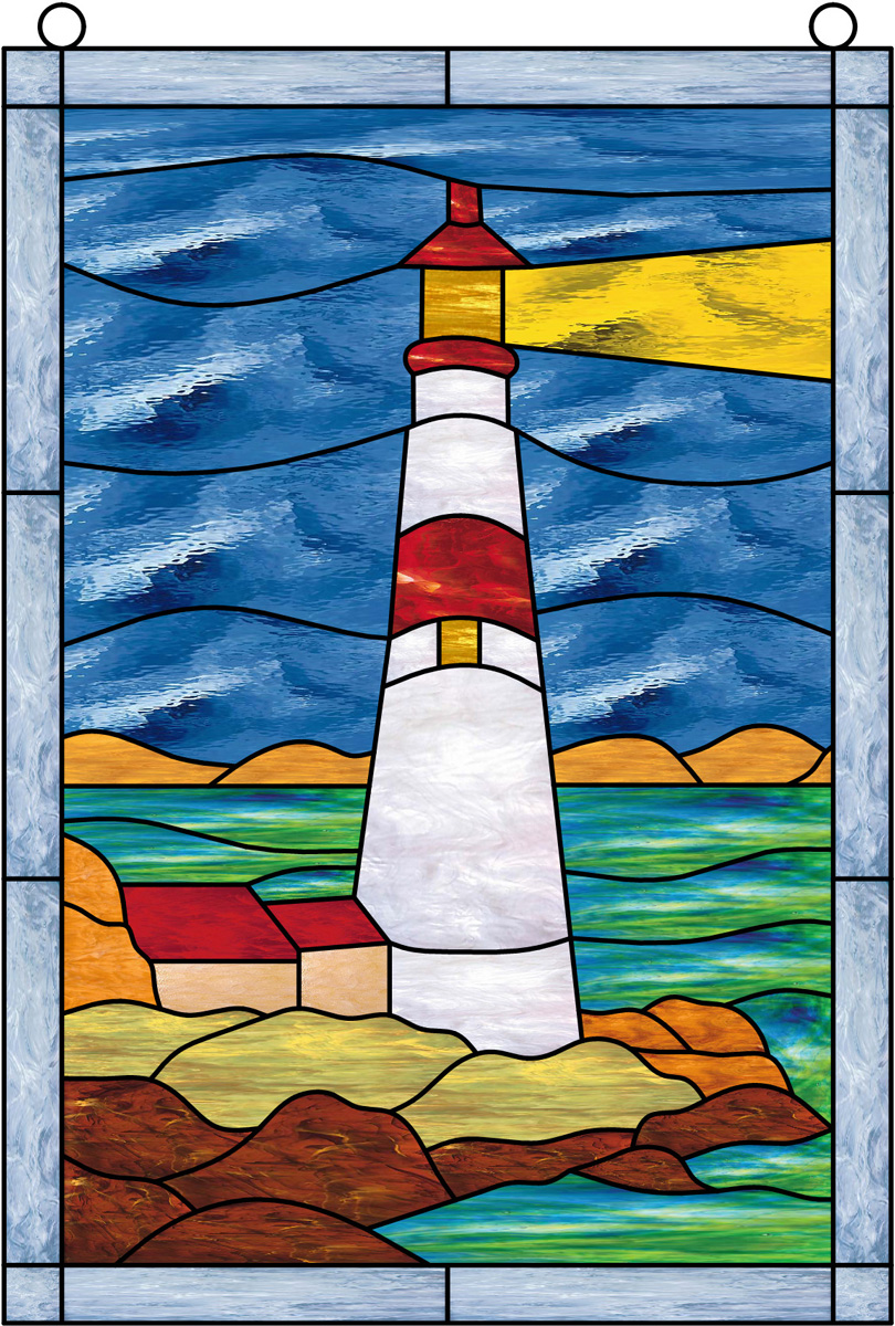 Window film, stained glass, lighthouse, sky, water