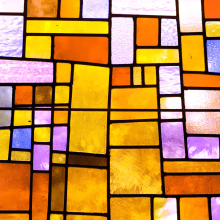 Window film, stained glass effect, modern, orange