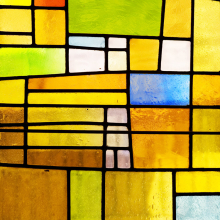Window film, stained glass effect, modern, yellow