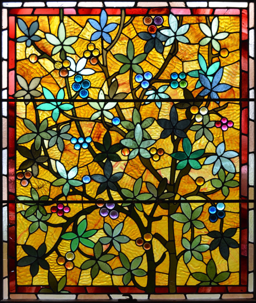 Window film, stained glass, flowers, yellow, red