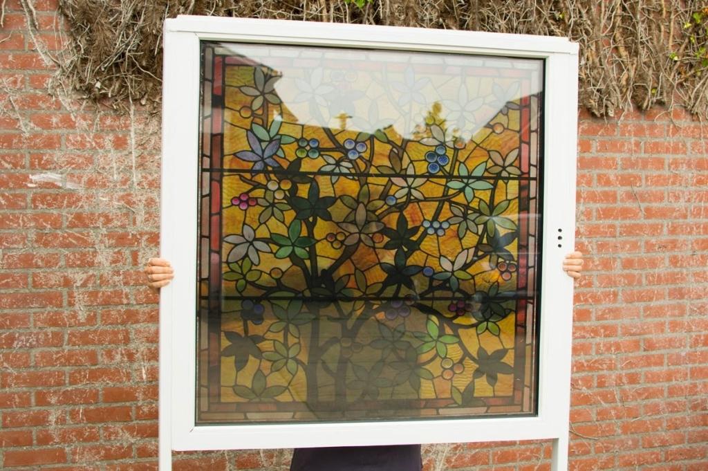 Stained glass window film, transparent window film, modern, sun, yellow, grass green