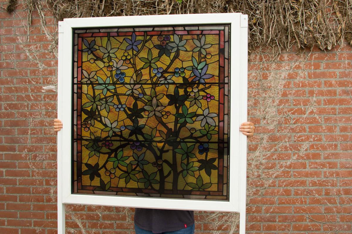 Stained glass window film, Transparent window film (3), flowers, yellow, classic