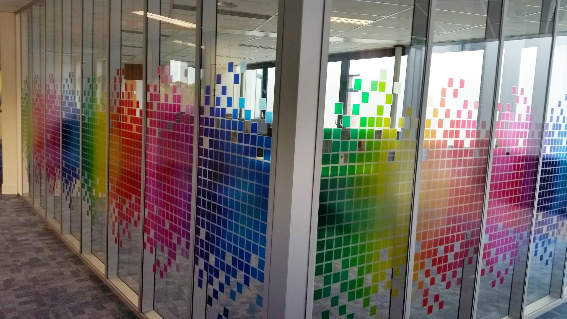 Transparent window film (3) project, office, custom design