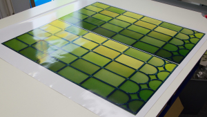 Transparent window film (3) stained glass, custom design, green
