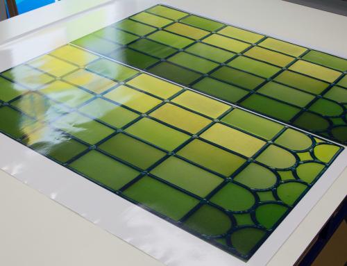 Transparent window film (3) stained glass, custom design, green