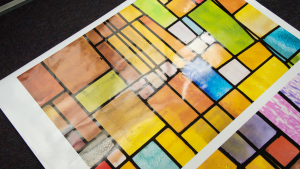 Transparent window film (3) stained glass, custom design, modern