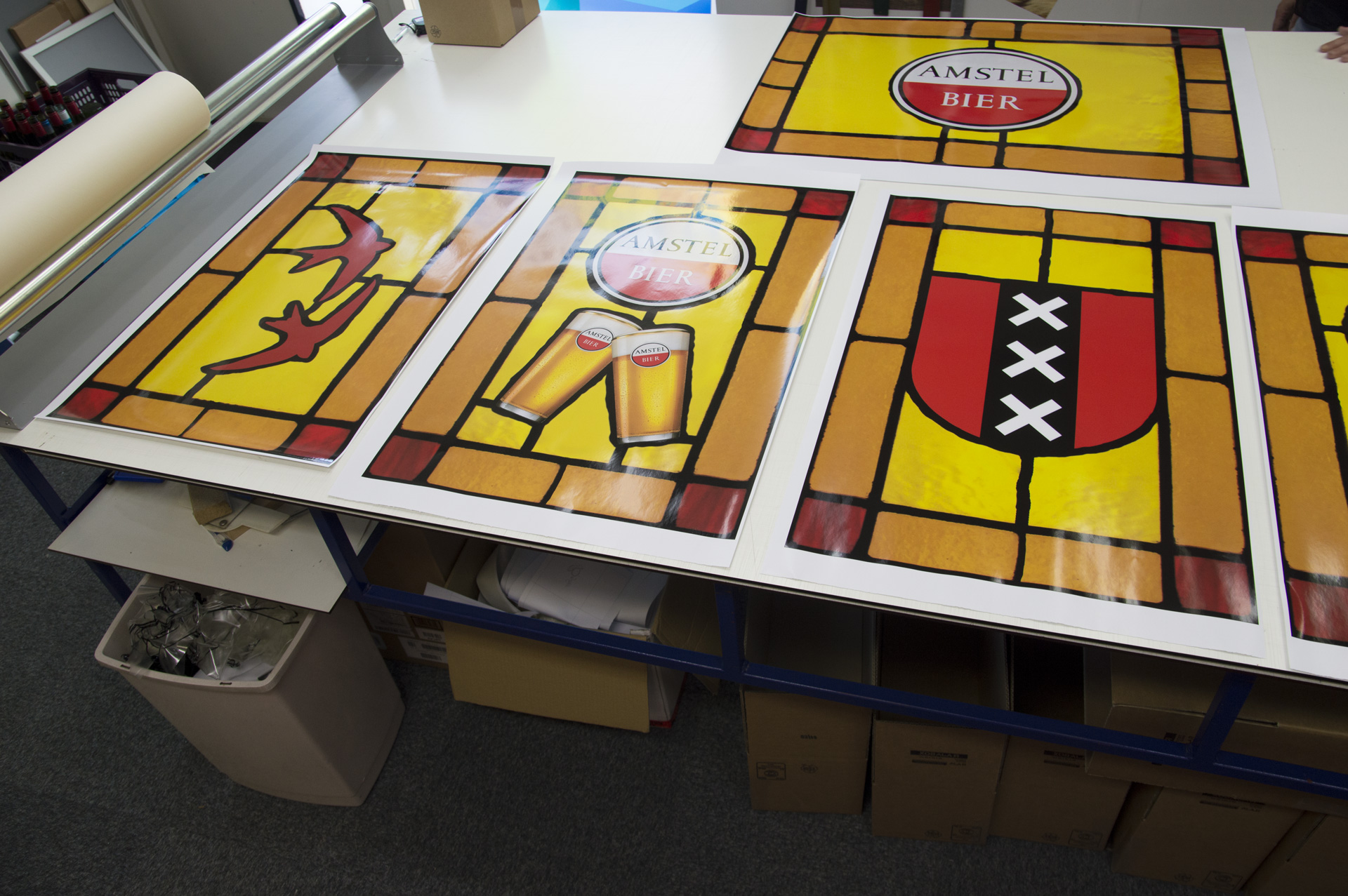 Transparent window film (3) stained glass, custom design, yellow, red