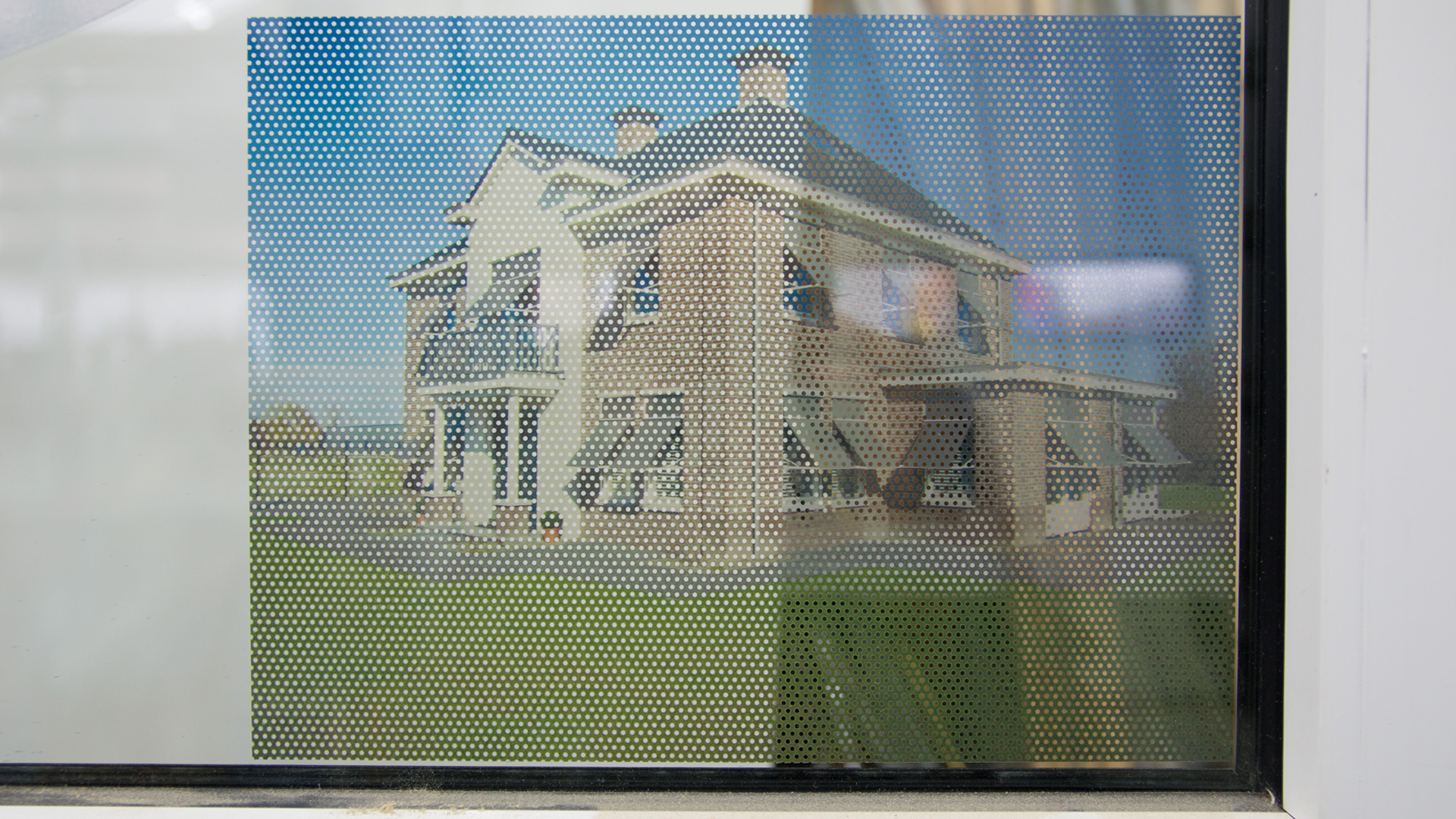 Two-way vision window film (8) close-up, back