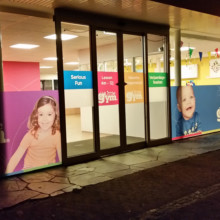 Frosted window film (2) with print, logo, brand identity, translucent