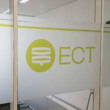 Frosted window film (2) with print, logo, office