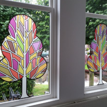 Frosted window film (2) with print, tree, modern, cut-to-shape