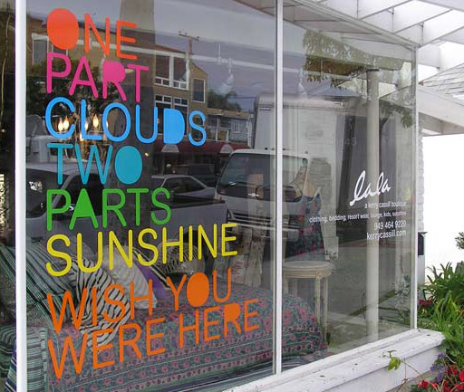 Window Decals (5) multiple colours texts