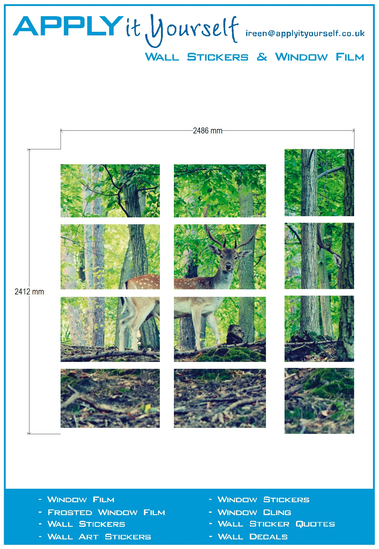 Frosted window film (2) multiple windows, print, nature, forest, deer