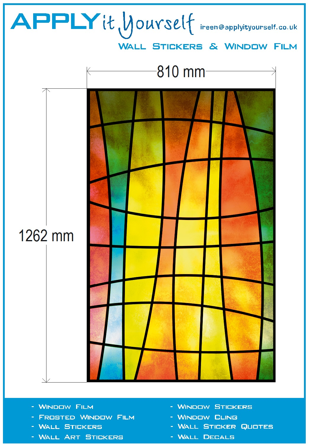 Window film transparent (3) stained glass, print, yellow, red, green, blue