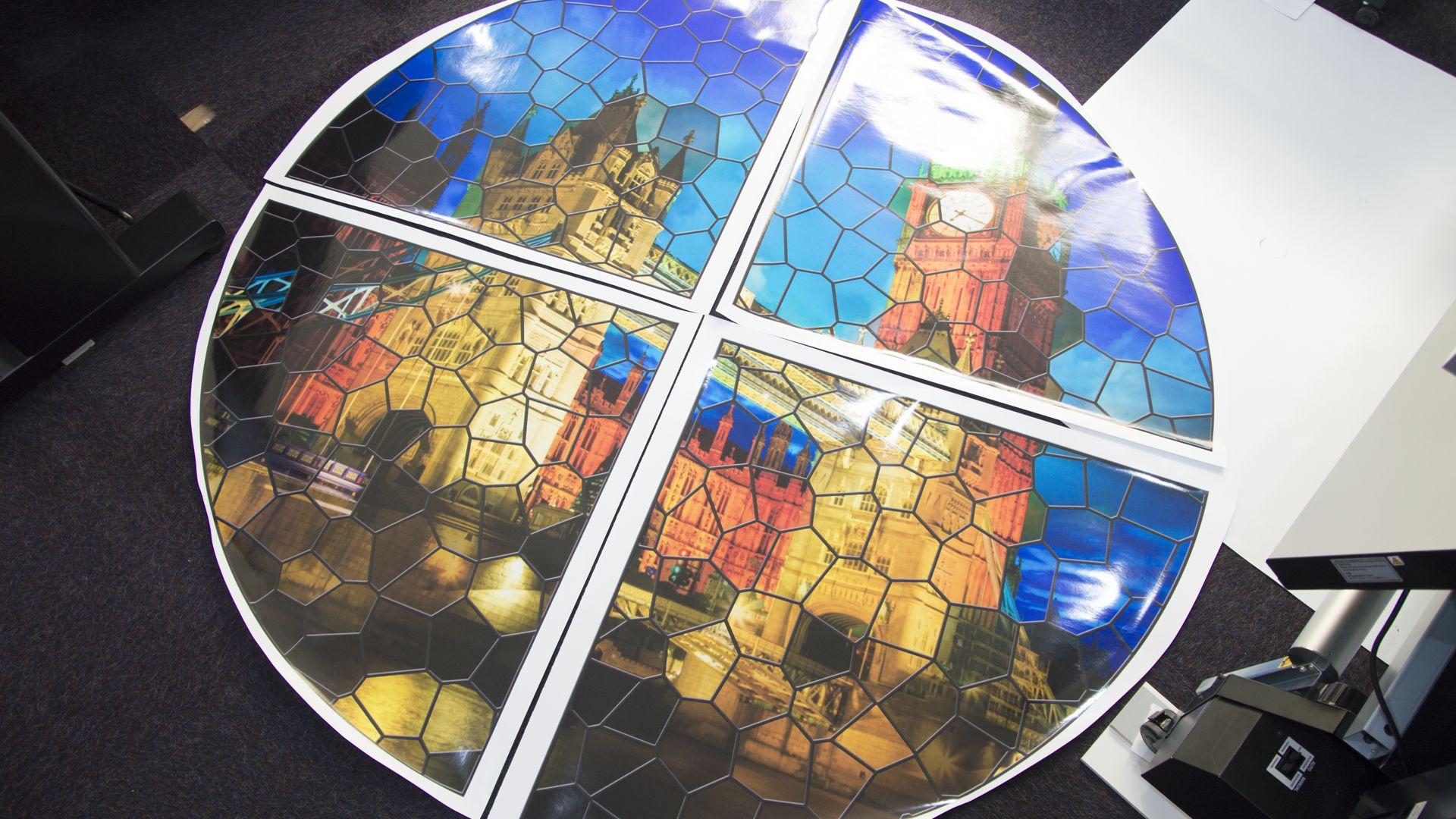 Transparent window film (3) stained glass, print, big ben, tower bridge, lead design