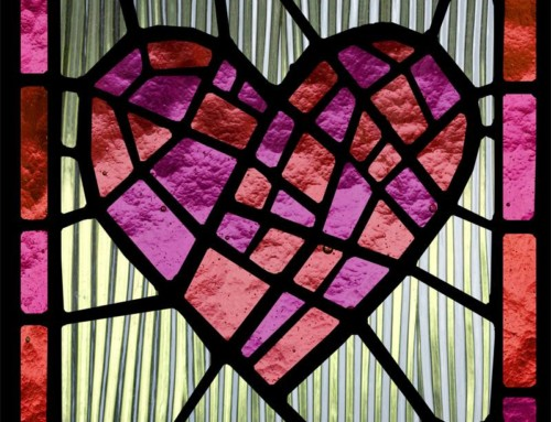 Stained glass, window film, red, heart, custom design, custom print