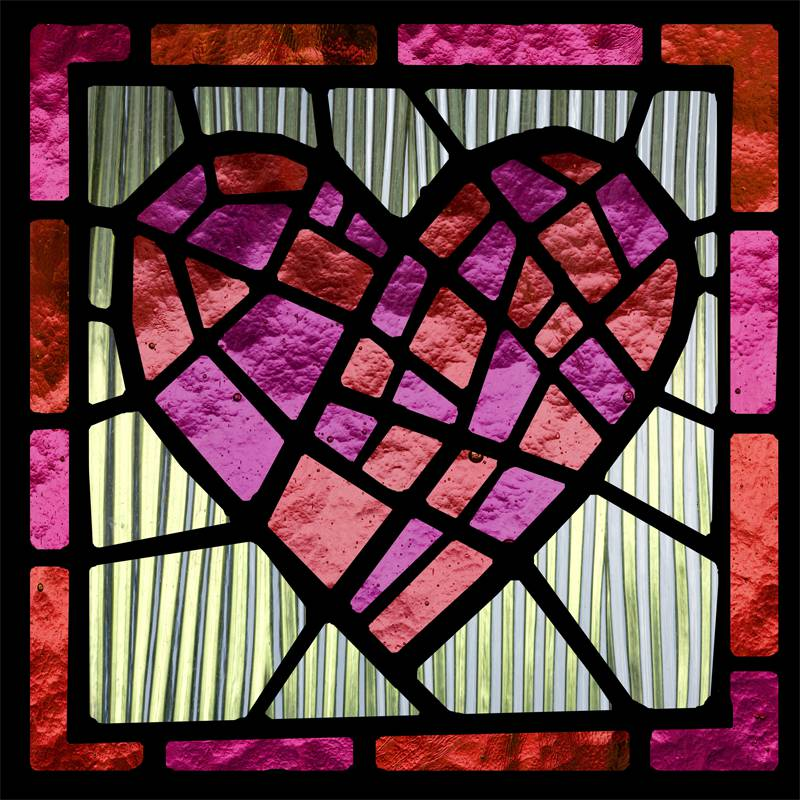 Stained glass, window film, red, heart, custom design, custom print