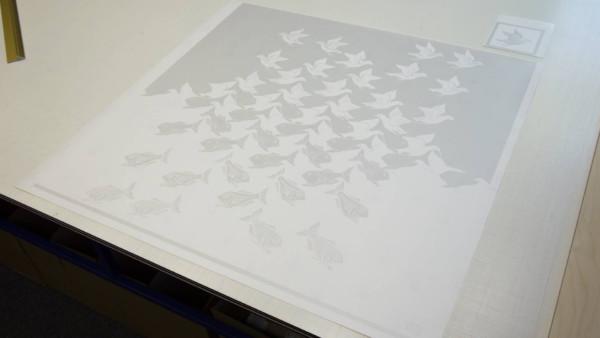 Cut to shape, frosted window film, complex design, bespoke, escher