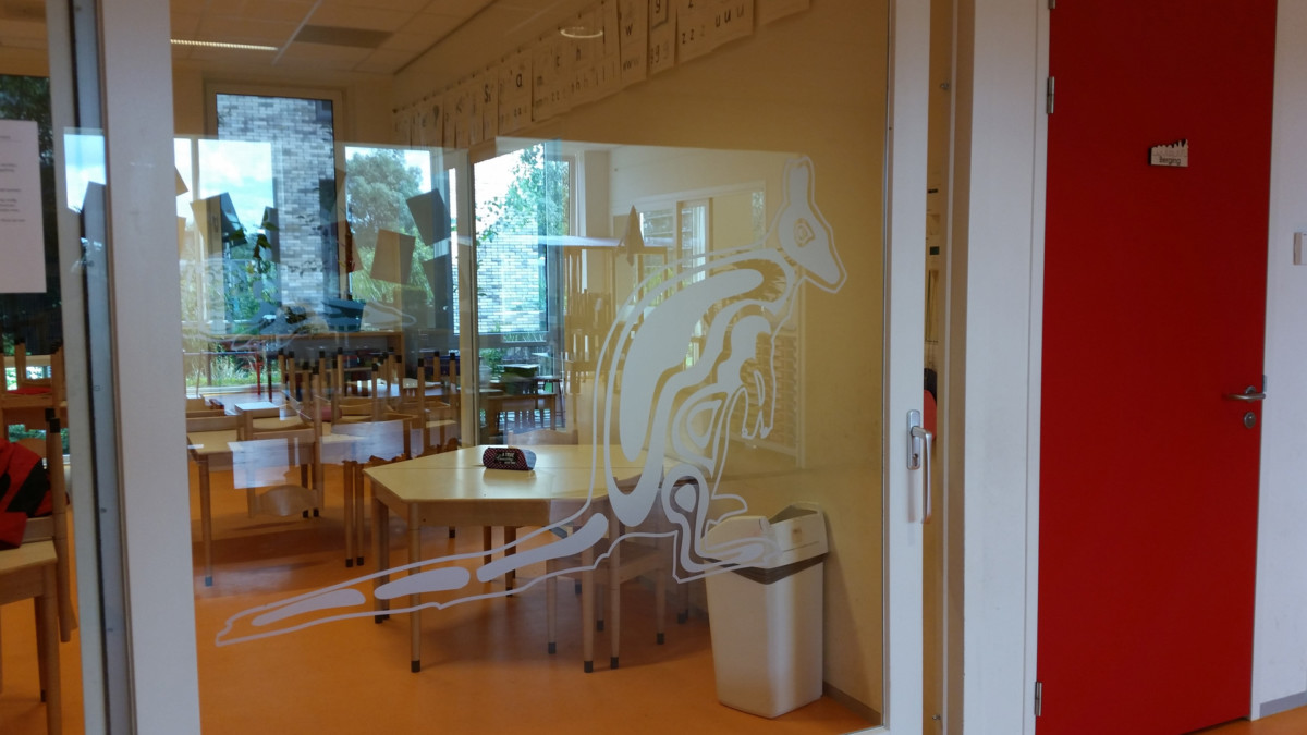 Cut to shape, frosted window film, animals, school, classroom