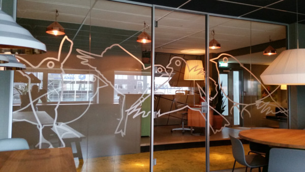 Cut to shape, frosted window film, custom, birds, both sides of the glass
