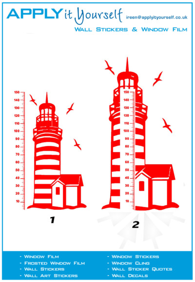 decal, red, lighthouse, large, 2012-000183