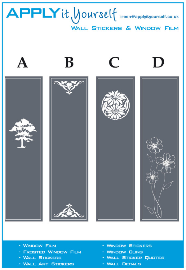 frosted window film, border, classic, design, ornaments, flowers, tree, 2012-000479