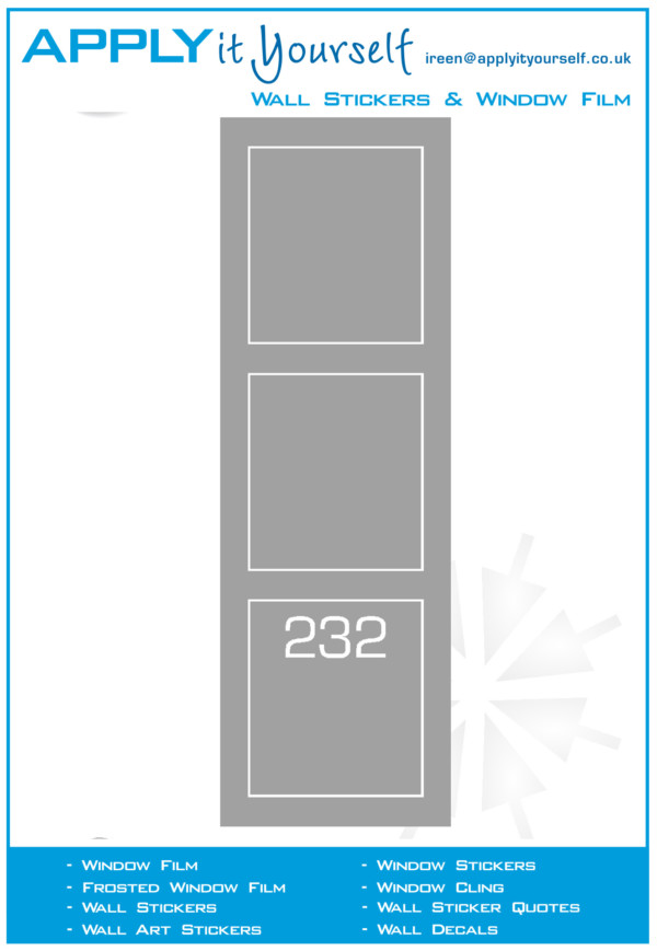 frosted window film, border, house number, 2012-000019