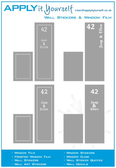 frosted window film, border, name, windows, door, design, example, 2012-000448