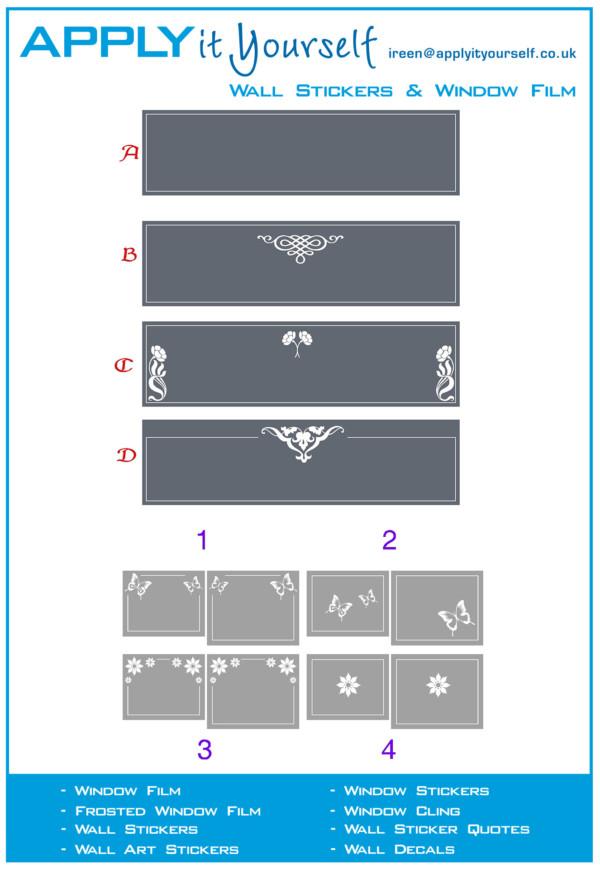 frosted window film, butterfly, flower, ornaments, 2012-000633-594